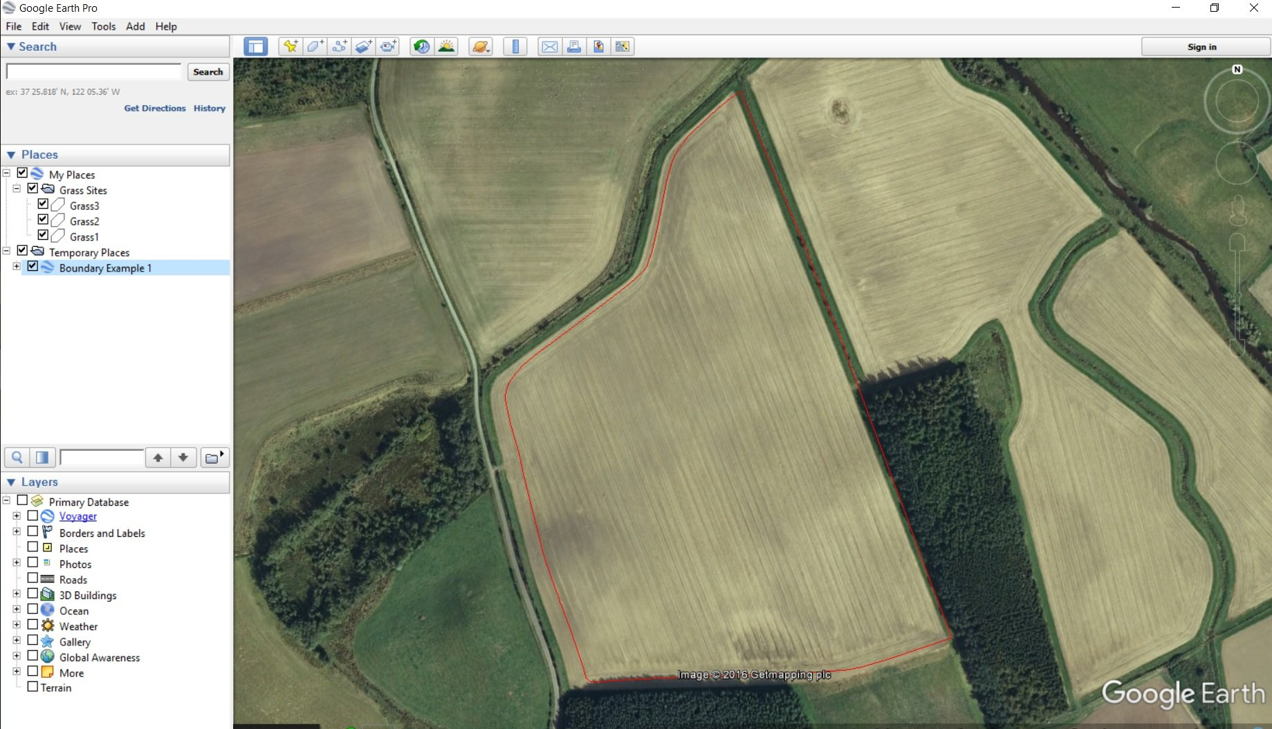 RTK drone generated field boundary in Google Earth
